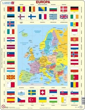 Puzzle - politische Karte und Flaggen - Europa, Format 36,5x28,5
