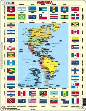 Puzzle - politische Karte und Flaggen - Amerika, Format 36,5x28,