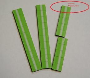 Magnetsymbol für Zusatzplan, 10x15mm, hellgrün mit weißem Streifen