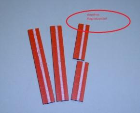 Magnetsymbol für Zusatzplan, 10x15mm, rot mit weißem Streifen