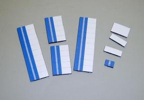 Satz Kippmagnete für Stundenplan, mittelblau mit Streifen / weiß