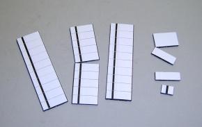 Satz Kippmagnete für Stundenplan, ganz weiß mit schwarzem Streif