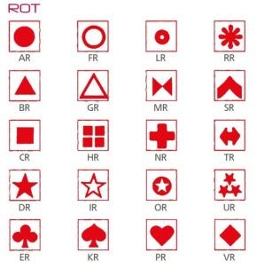 Symbolbogen für Kippmagnete, selbstklebend, 600 Symbole, rot