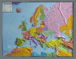 Reliefkarte Silverline, Europa, politisch, deutsch, im Holzrahmen